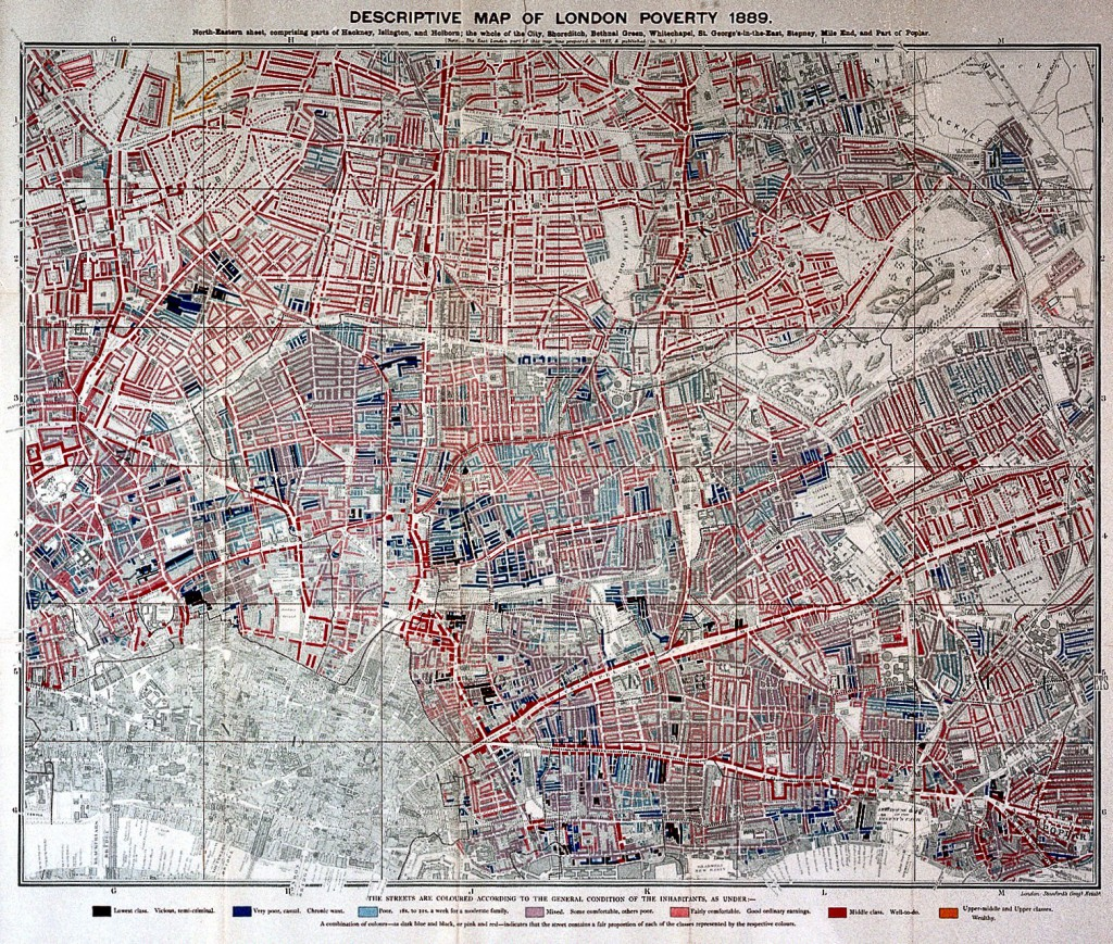 L0027750 Charles Booth, Life and labour of the people in London Credit: Wellcome Library, London. Wellcome Images images@wellcome.ac.uk http://wellcomeimages.org Descriptive map of London poverty, 1889 (north-eastern sheet) Life and labour of the people in London Charles Booth Published: 1892 - 1897 Copyrighted work available under Creative Commons Attribution only licence CC BY 4.0 http://creativecommons.org/licenses/by/4.0/