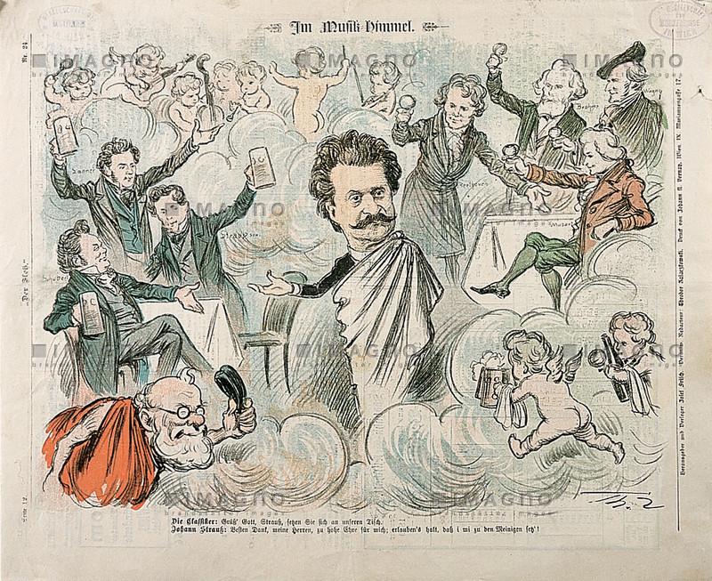 """Johann Strauß im """"Im Musik-Himmel"""". Karikatur von Theo Zasche aus """"Der Floh"""", Nr. 24. 1899"""